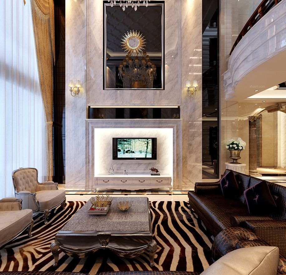 别墅新古典客厅电视背景墙