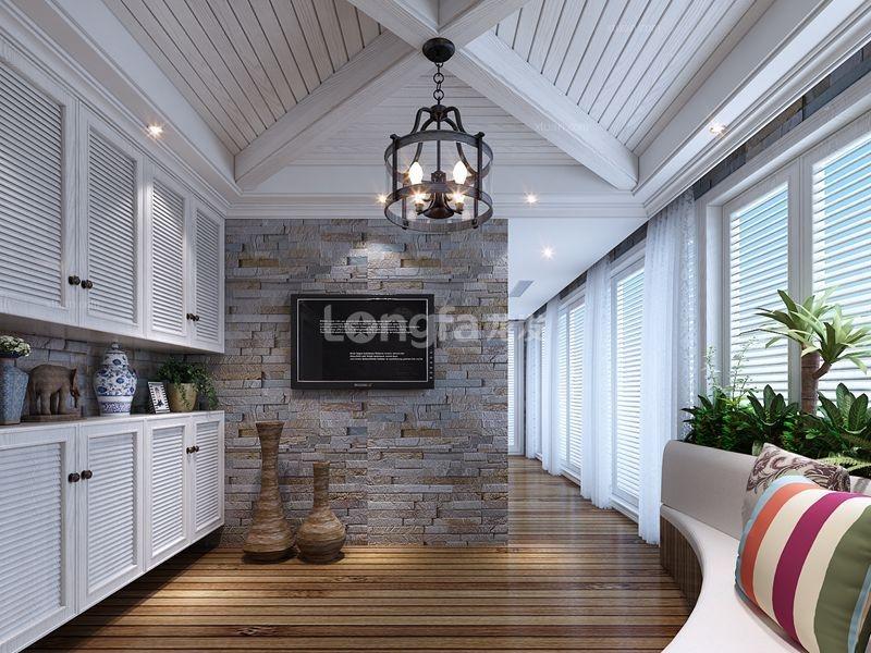 跃层美式风格阳台开放式厨房