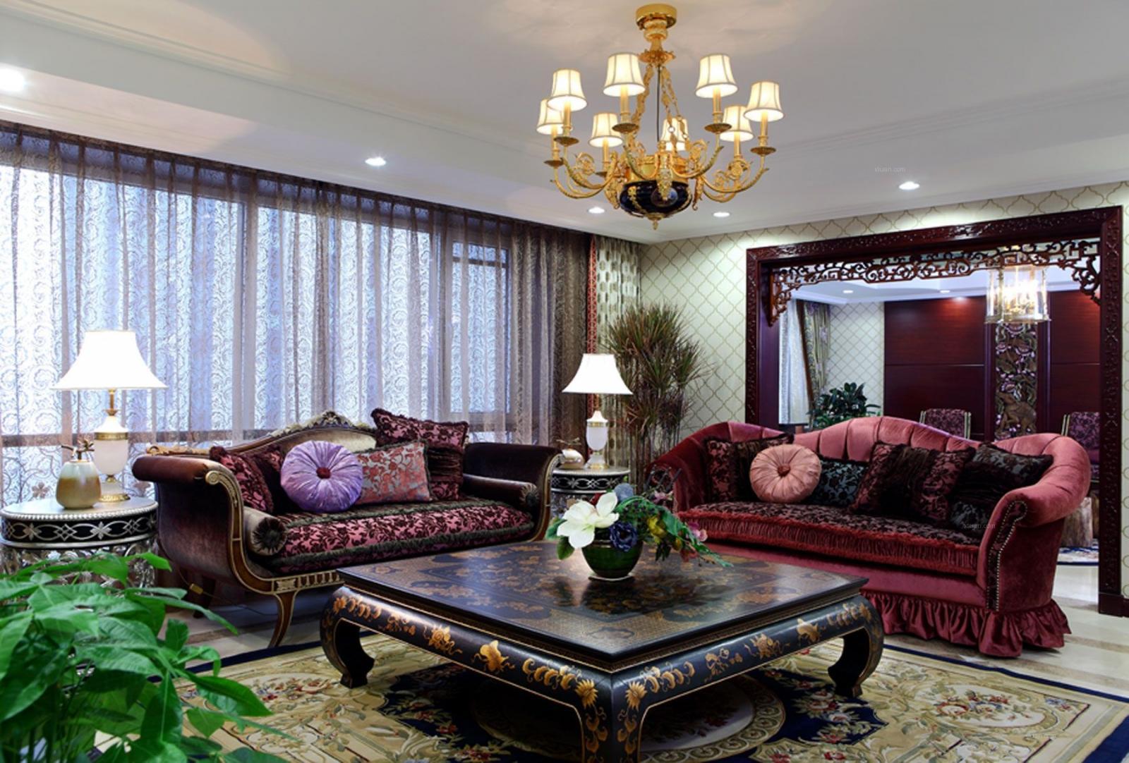 四居室中式风格客厅软装