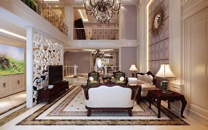 别墅欧式风格客厅_丹东联排别墅430平欧式设计