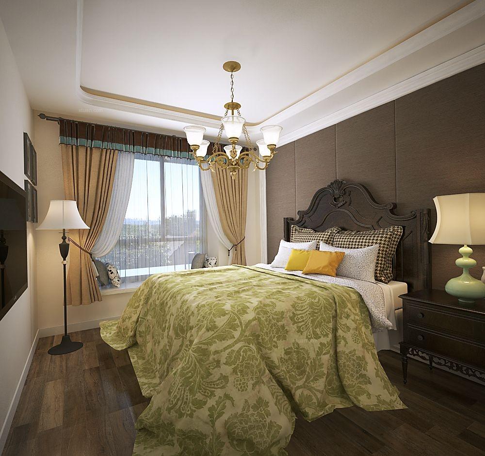 两室两厅美式风格主卧室_金域蓝湾109户型装修效果图图片