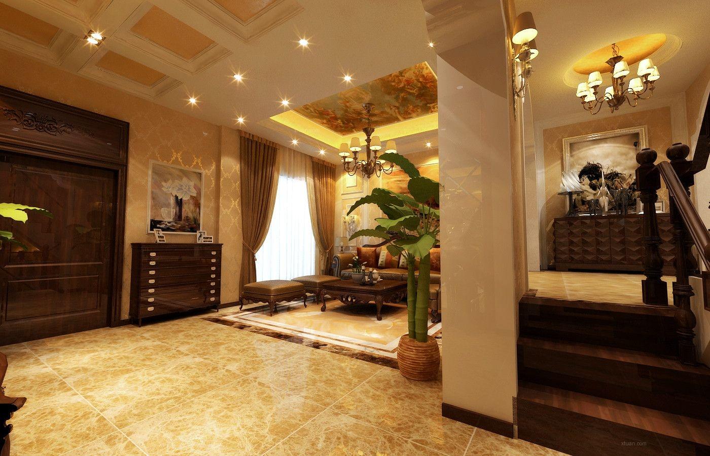 大户型欧式风格玄关沙发背景墙图片