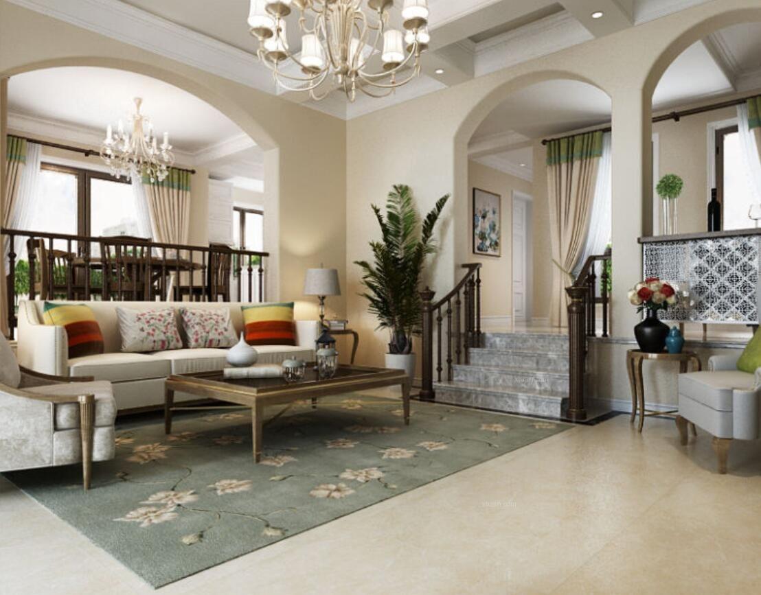 别墅美式风格客厅_保亿风景水岸别墅美式风格设计装修