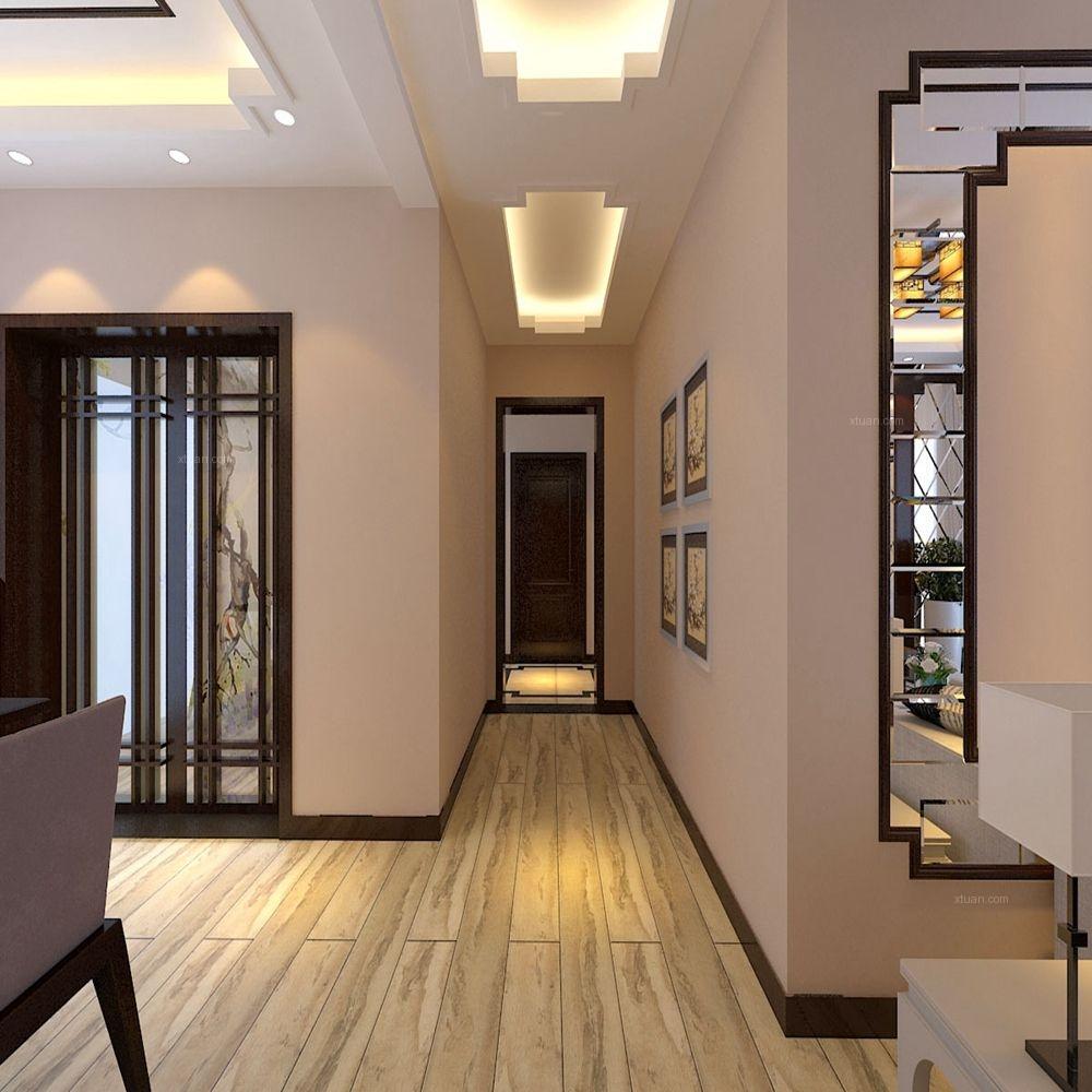 三居室新古典过道_国宝花园125㎡新中式风格装修效果图图片