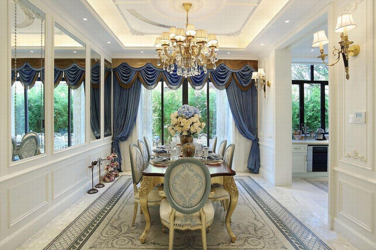 别墅法式风格餐厅_法式异域蓝色风情千章墅装修效果图图片