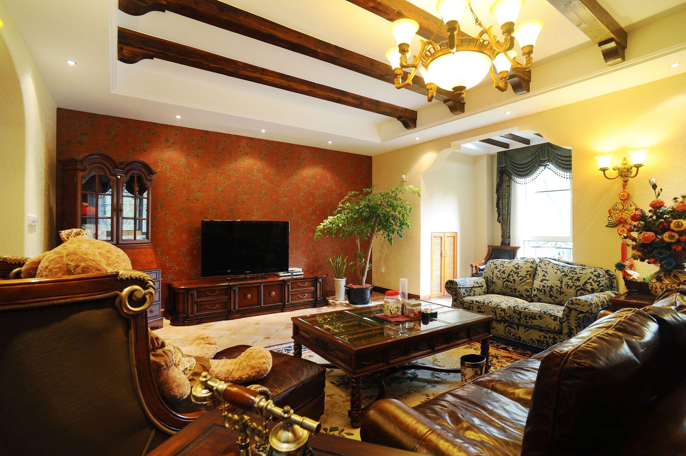 别墅美式风格客厅_好望山装修效果图-x团装修网图片
