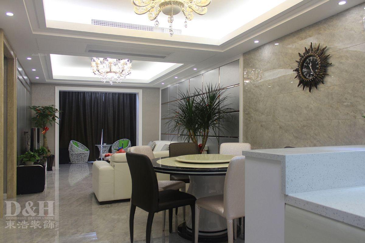 三居室现代简约餐厅开放式厨房