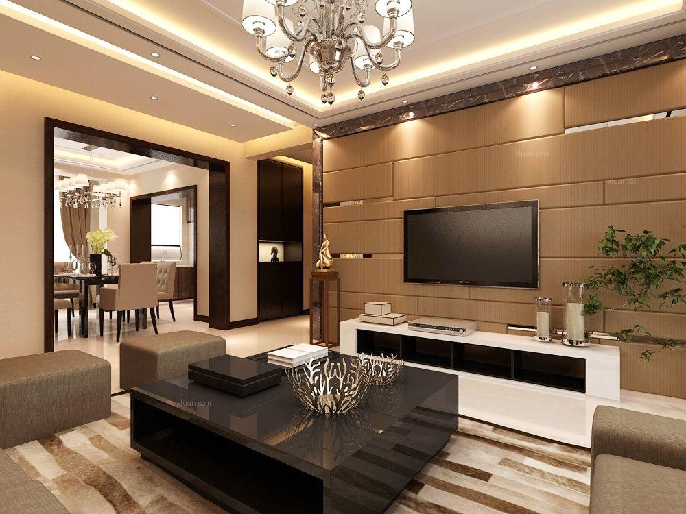 两室两厅现代风格客厅_金地铂悦102㎡-港式风格装修