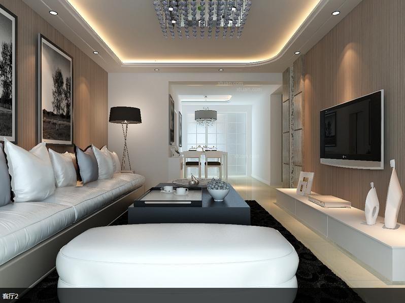 两室两厅现代简约客厅电视背景墙