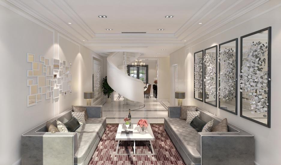 跃层现代简约客厅_九号别墅164平米 黑白灰装修效果图