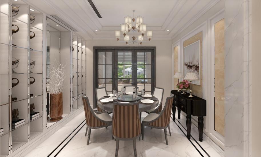 跃层现代简约餐厅_九号别墅164平米 黑白灰装修效果图