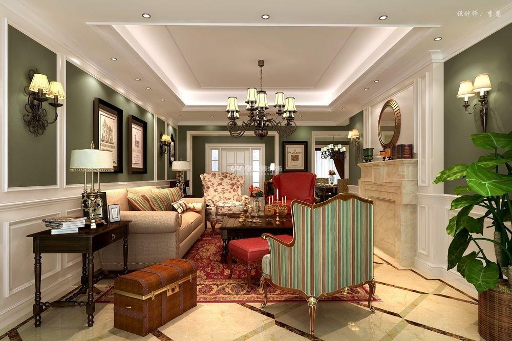 跃层美式风格客厅软装图片