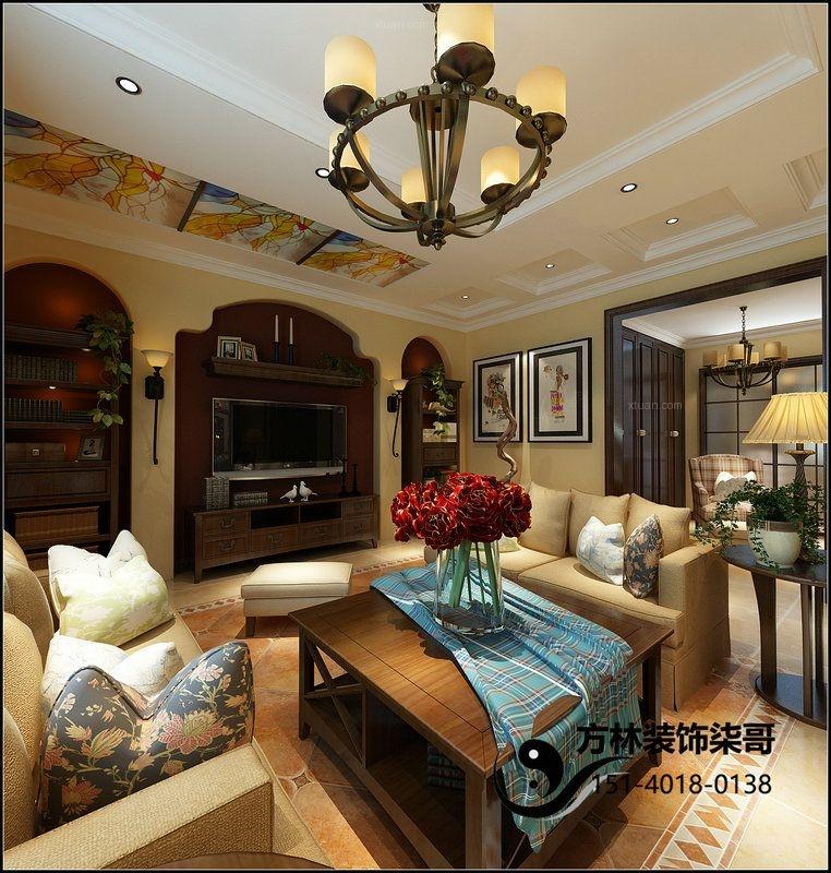 三居室混搭风格客厅电视背景墙图片