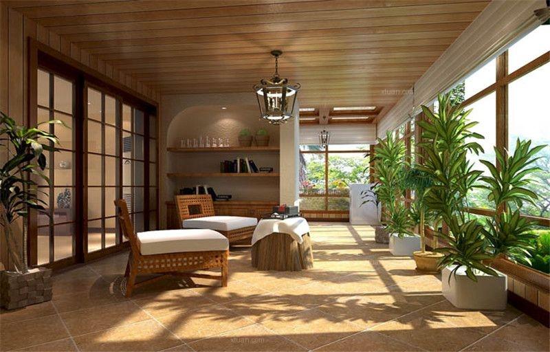 三居室美式风格阳光房图片