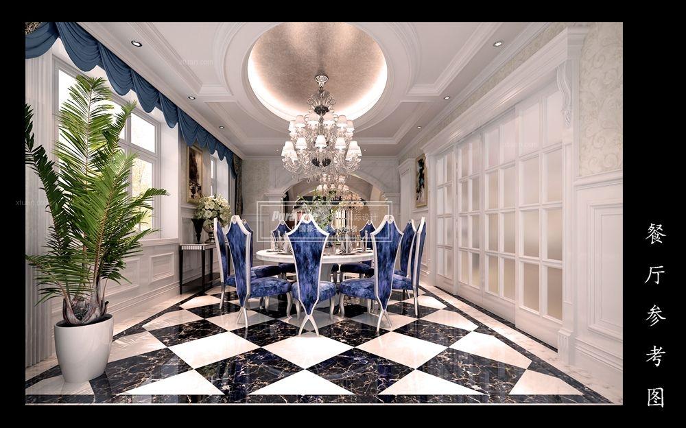 别墅美式风格客厅圆形吊顶