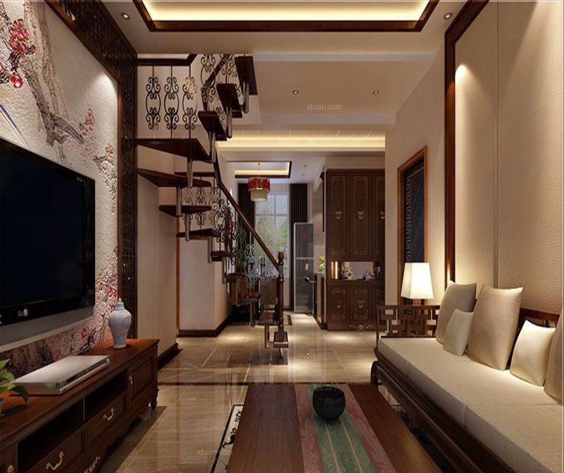 复式楼中式风格客厅沙发背景墙