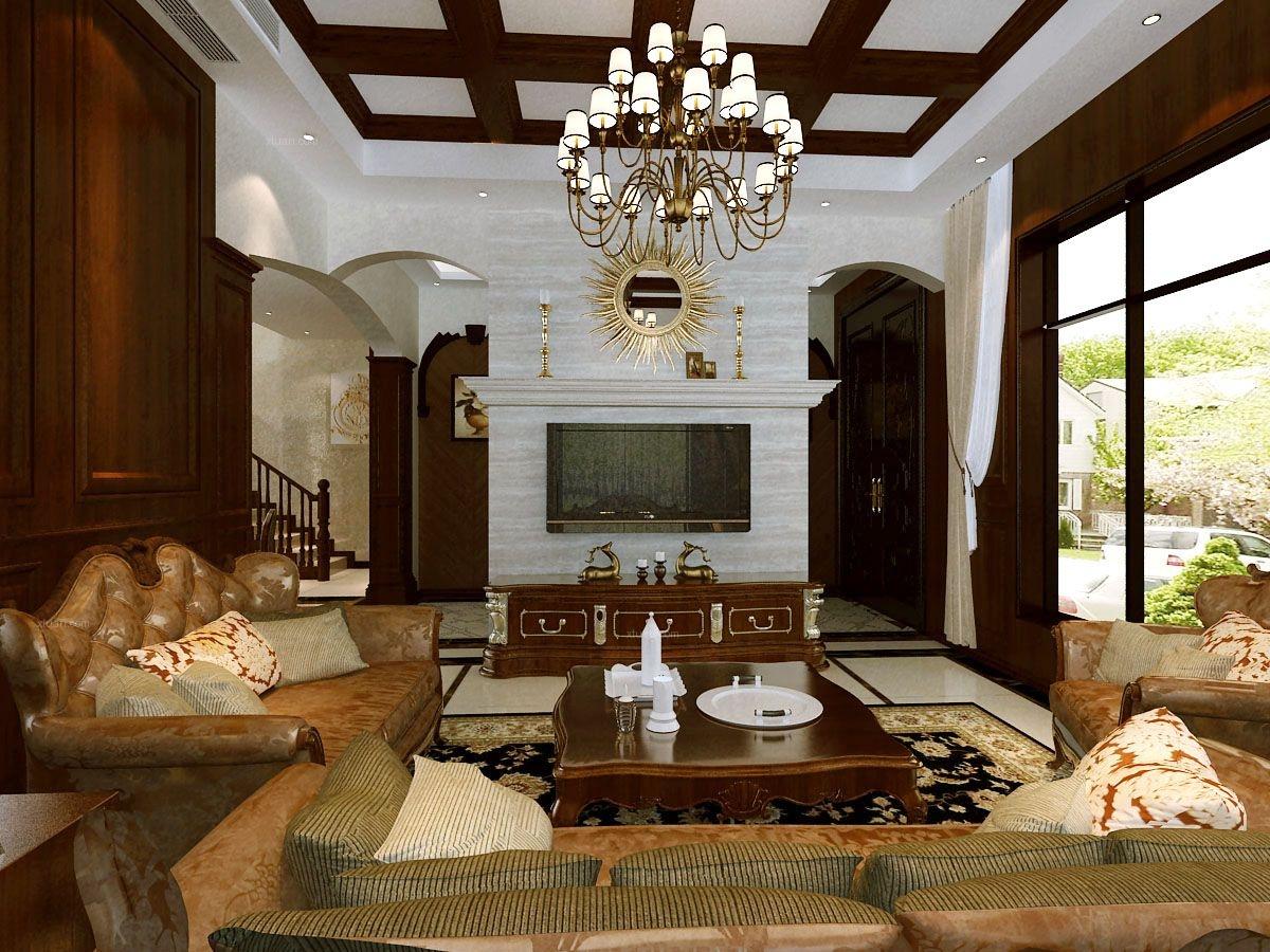 别墅美式风格客厅电视背景墙