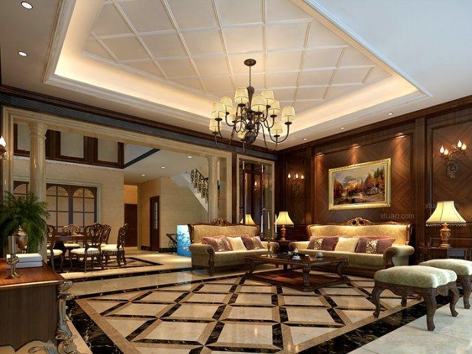 石家庄龙发装饰上山间260平别墅欧式风格装修设计效果图