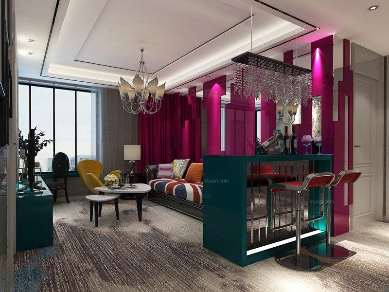 两居室现代风格客厅沙发背景墙