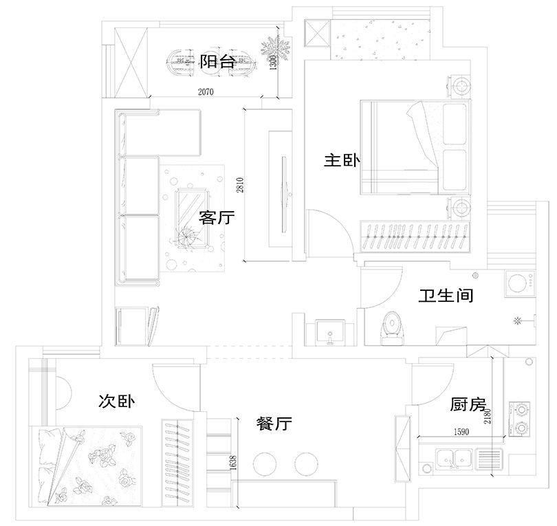 贰号城邦89平方现代简约装修效果图