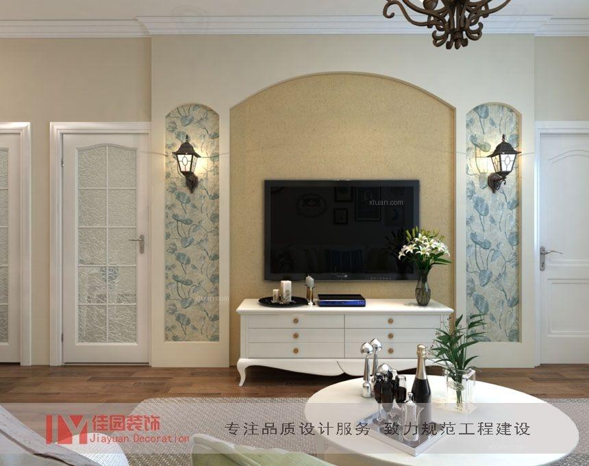 两居室美式风格客厅电视背景墙_小户型简美风装修效果