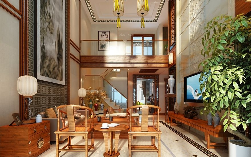 复式楼中式风格客厅圆形吊顶图片
