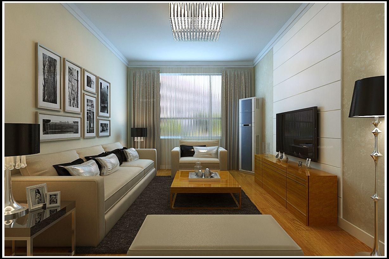 两室一厅现代简约客厅照片墙