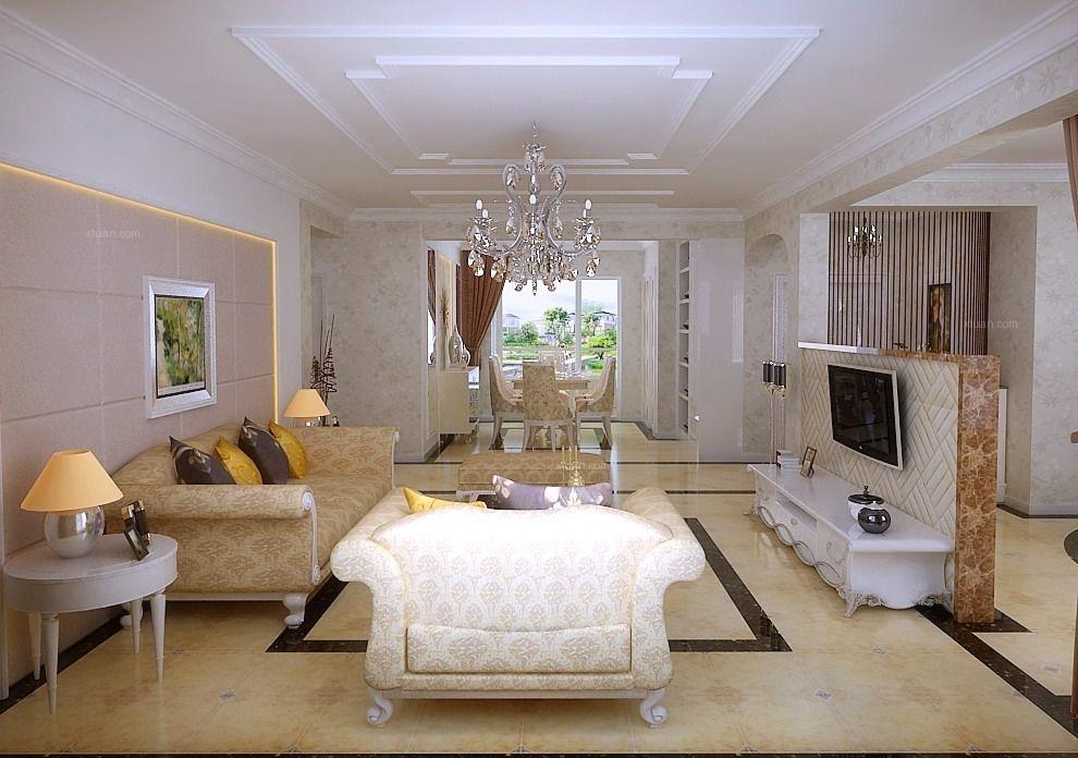 四居室简欧风格客厅电视背景墙图片