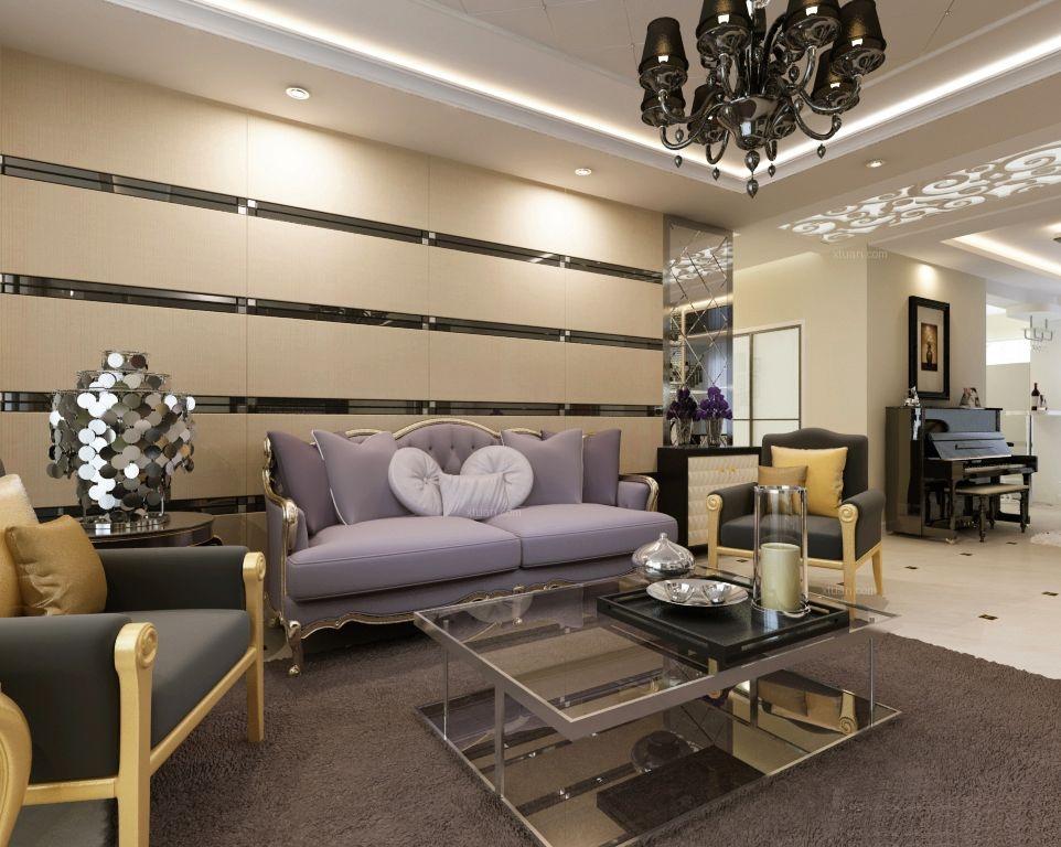大户型现代简约客厅沙发背景墙