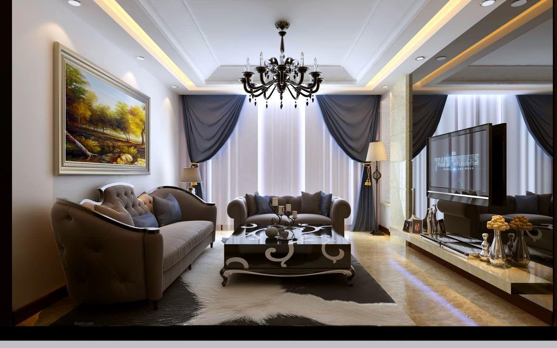 三居室混搭风格客厅沙发背景墙图片