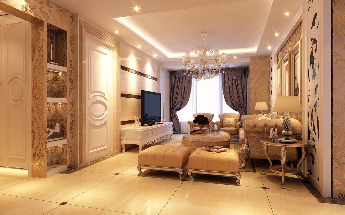 三居室简欧风格客厅电视背景墙_新加坡城简约欧式装修图片