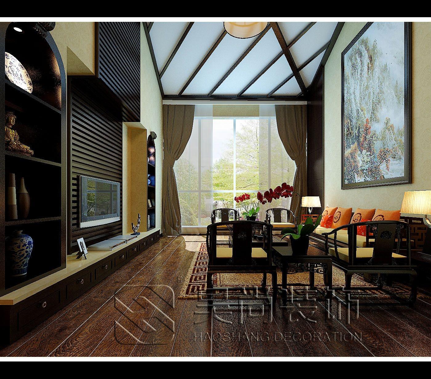 独栋别墅中式风格客厅