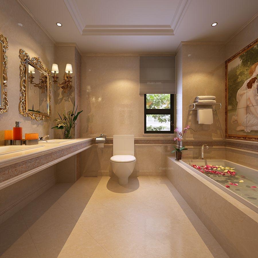 别墅欧式风格洗手间地台_西西安小镇装修效果图