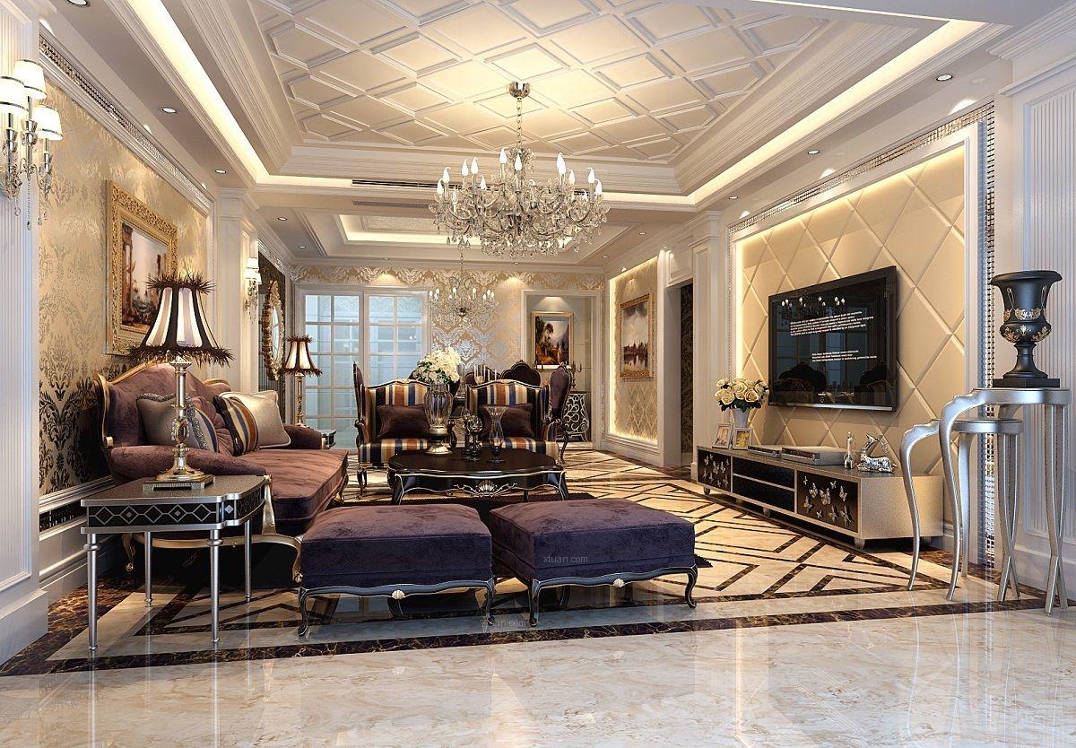 四居室欧式风格客厅电视背景墙