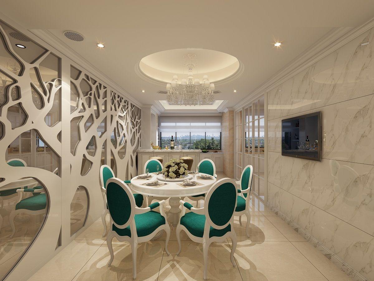 四居室简欧风格餐厅开放式厨房