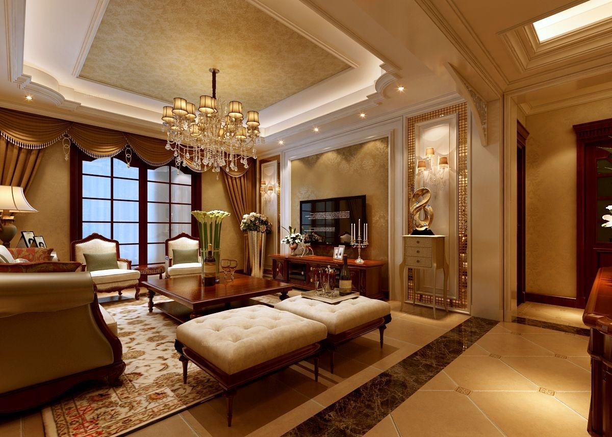 复式楼欧式风格客厅电视背景墙_逸翠尚府270装修效果图图片