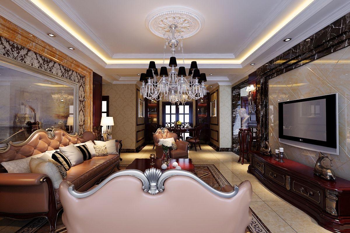 四居室欧式风格客厅影视墙图片