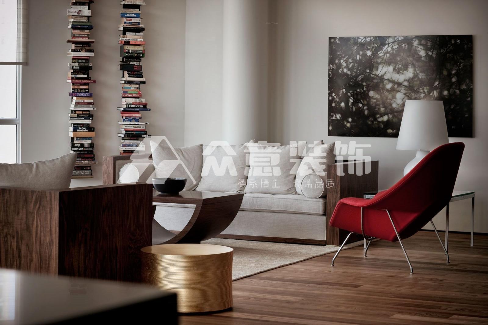大户型北欧风格客厅沙发背景墙