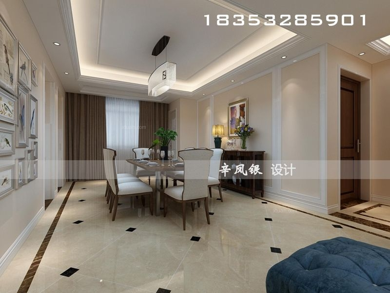 三居室欧式风格客厅圆形吊顶