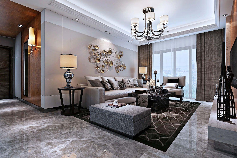 三居室现代简约客厅图片