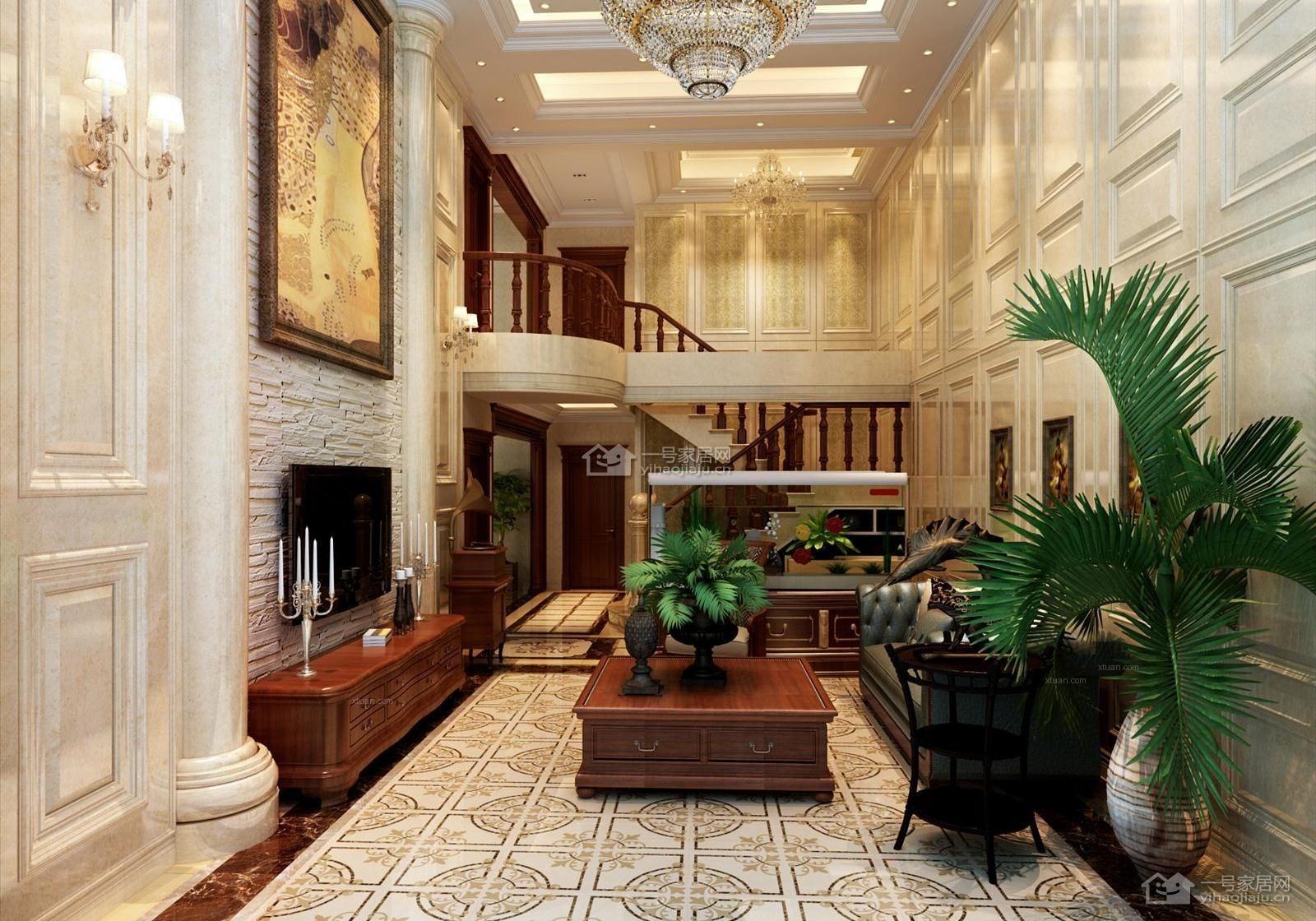 跃层欧式风格客厅_欧式古典复式温暖装修效果图-x团