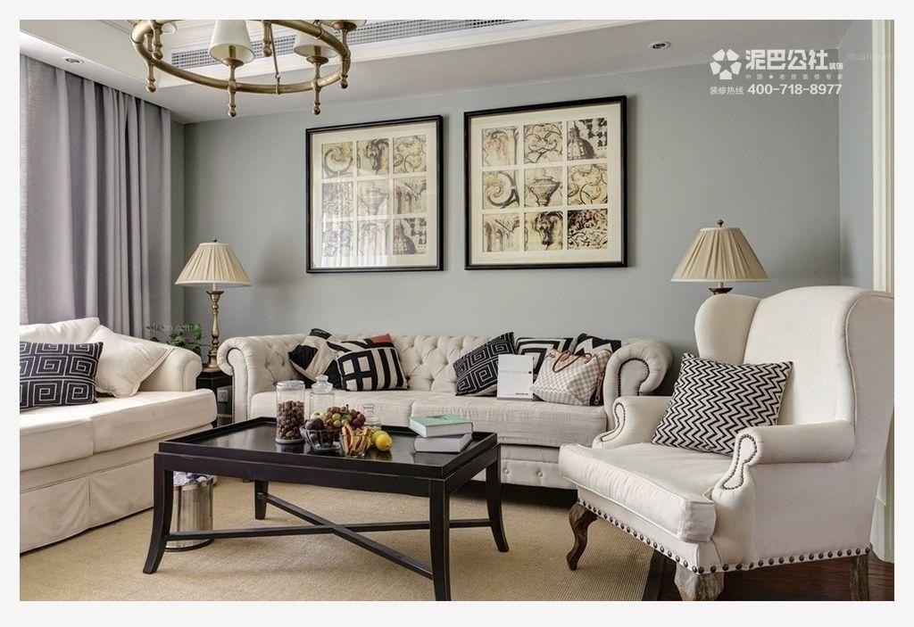 三居室英式风格客厅沙发背景墙