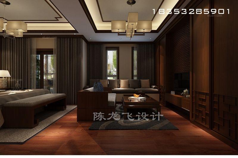 别墅中式风格客厅电视背景墙图片
