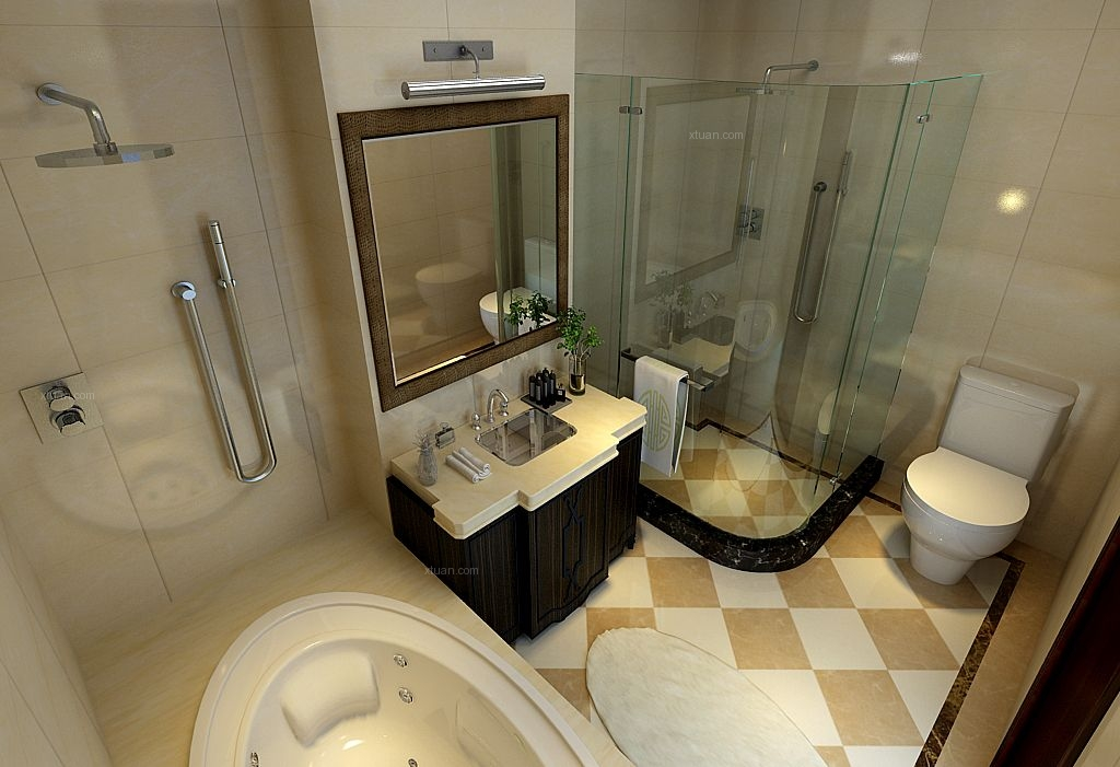 三室两厅中式风格卫生间_金地名京装修效果图