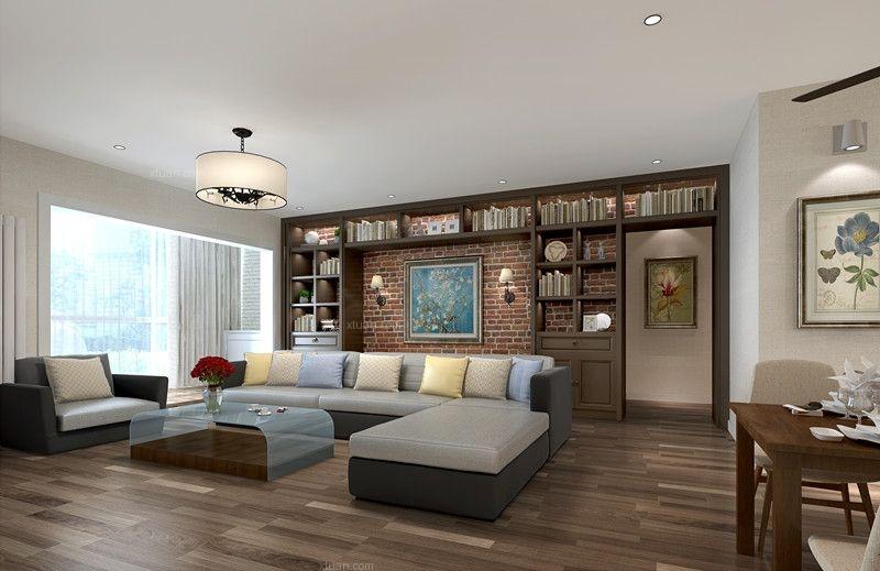 三居室现代简约客厅影视墙