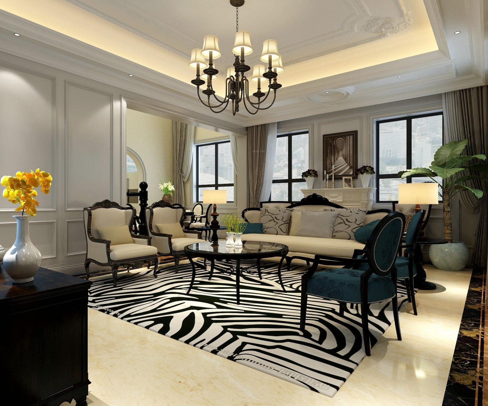 别墅美式风格客厅软装_拉菲水岸200平装修效果图-x团图片
