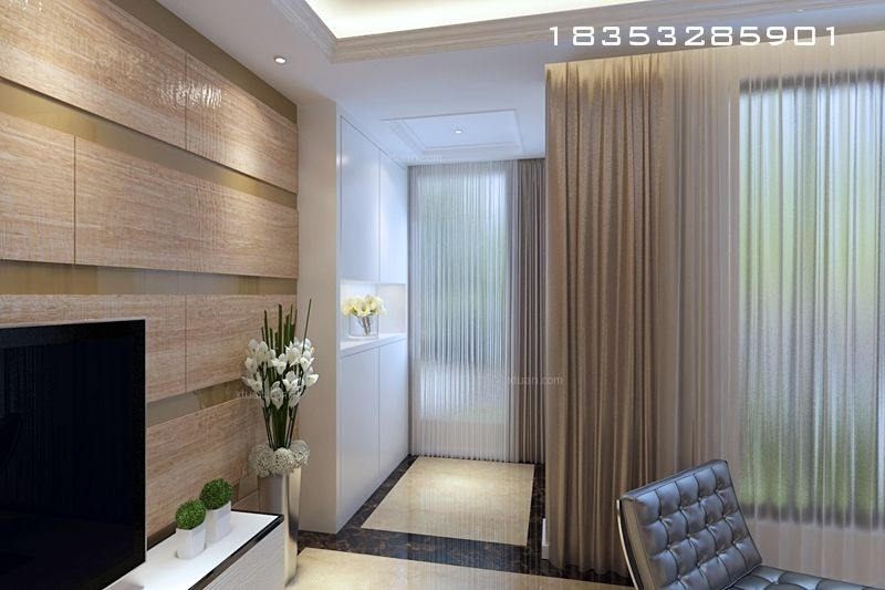 别墅现代简约客厅电视背景墙