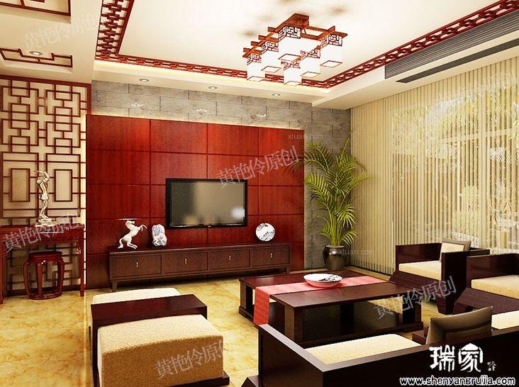 別墅中式風格客廳電視背景墻