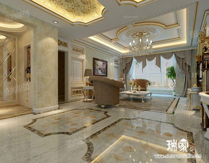 大户型法式风格客厅_金地名京213平法式风格图装修图图片