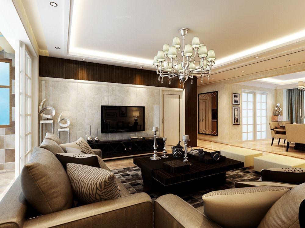 三室两厅现代风格客厅_远洋和平府145㎡-港式风格装修